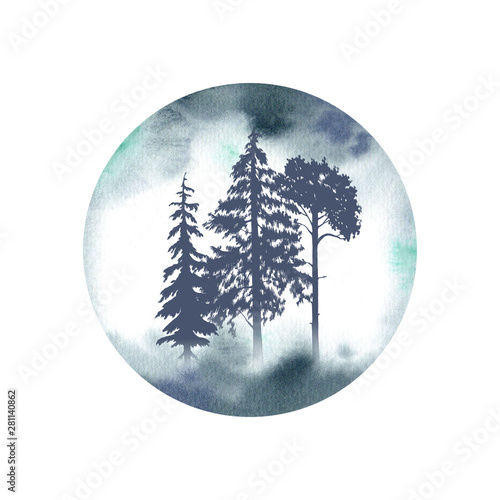 Cadres-photo bureau Aquarelle la Nature Silhouettes of three pine trees on watercolor background. Misty forest illustration.