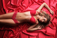 Sexy Model In Red Underwear Ly...