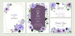 wedding invitation suite with violet floral watercolor