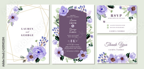 Fotografia, Obraz  wedding invitation suite with violet floral watercolor