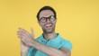 Clapping Young Man, Applauding Isolated on Yellow Background