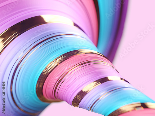 Printed kitchen splashbacks Purple Colorful wave shape like Antelope Canyon with gold stripes. Coral to blue gradients on th white background. 3d render