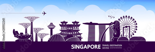 Singapore travel destination grand vector illustration. Wallpaper Mural