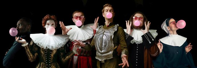 Young people as a medieval grandee on dark studio background. Bubbling up of pink gum. Collage of portraits in retro costume. Human emotions, comparison of eras and facial expressions concept.