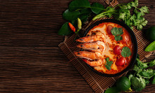 Tom Yum Goong Spicy Soup Traditional Food Cuisine In Thailand On Wooden Background , Top View, Copying Area, National Food