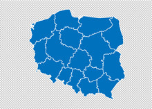 Poland Map - High Detailed Blu...