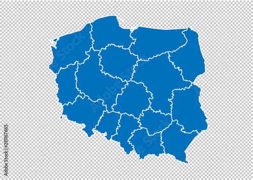polska mapa - Szczegółowa niebieska mapa z powiatami / regionami / stanami Polski. Polska mapa na białym tle na przezroczystym tle.