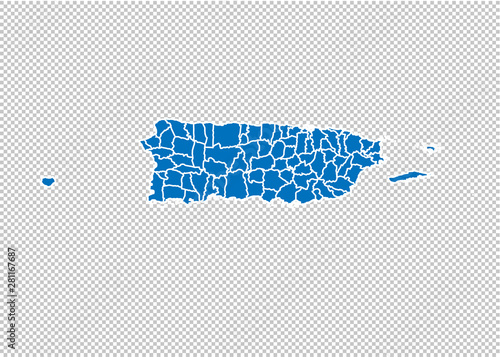 puerto Rico map - High detailed blue map with counties/regions/states of puerto Rico Obraz na płótnie
