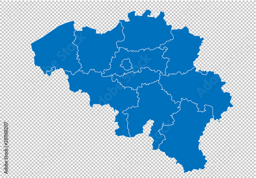 Fototapeta belgium map - High detailed blue map with counties/regions/states of belgium. belgium map isolated on transparent background. obraz