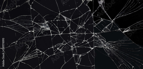 Fotografia broken glass dark background texture, Cracked touch screen phone.