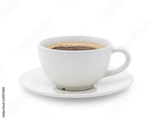 White cup of black coffee isolated on white background with clipping path Wall mural
