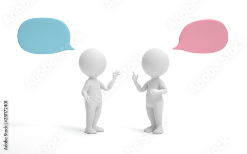 Two man talking and discussing. communication and talking concept. 3d rendering,conceptual image.