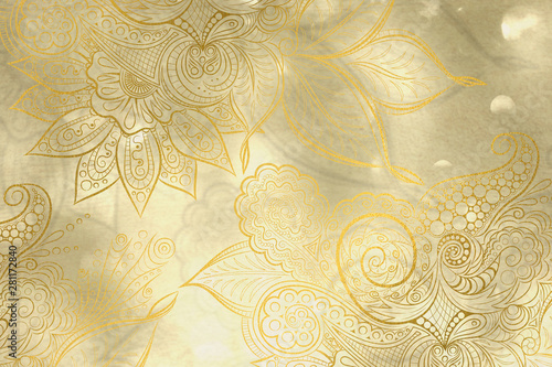 Fotografie, Obraz  Abstract golden background with mandala decorations and beautiful lights effects