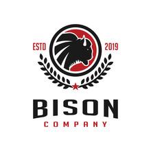 Vintage Bison Circle Logo Design Template