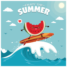 Vintage Summer Poster Design With Vector Watermelon & Surfboard Characters.