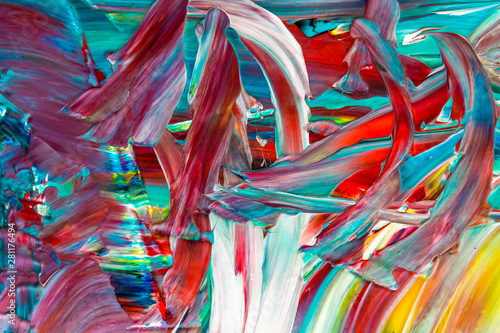 Foto op Aluminium Paradijsvogel bloem abstract colorful background acrylic paint texture on canvas