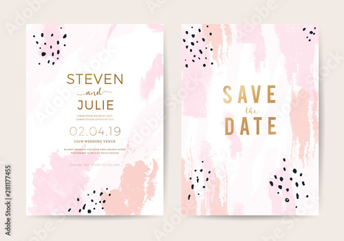 Fototapeta Minimal Wedding Invitation Card Design Template With Pink And Rose Gold Brush Texture Vector
