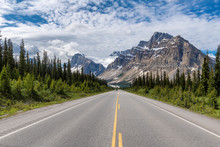 Scenic Road In The Canadian Rockies At Sunny Summer Day, Icefields Parkway, Banff National Park, Alberta, Canada.