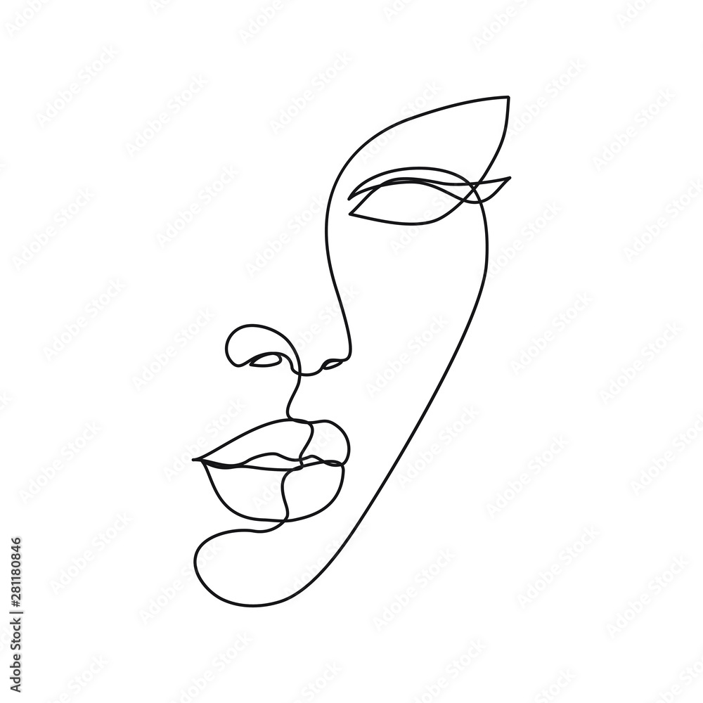Fototapeta Woman face line drawing art. Abstract minimal female face icon, logo