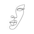 Woman face line drawing art. Abstract minimal female face icon, logo