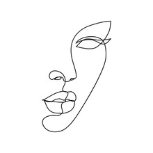 Woman Face Line Drawing Art. A...