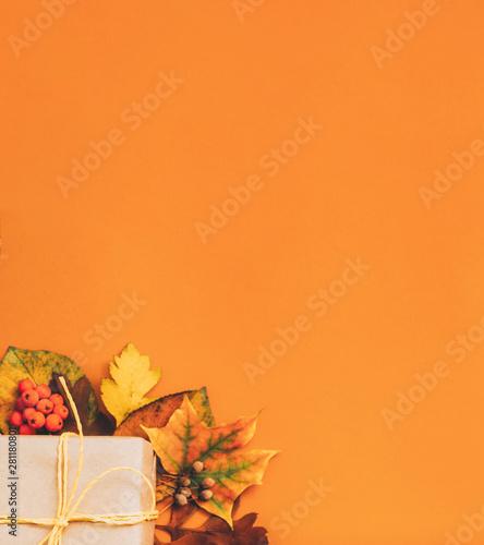 Autumn holiday greeting card Fotobehang