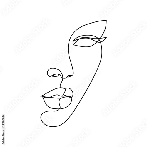 Woman face line drawing art Fototapet