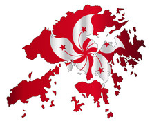 Hong Kong Outline Map With Flag