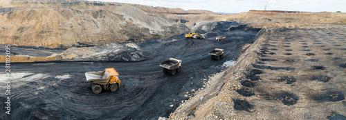 Fototapeta coal mining open pit mine aerial black