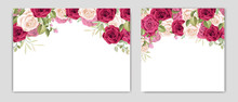 Floral Wedding Card With Beautiful Roses Frame Template