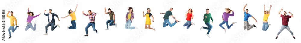 Fototapeta Collage of emotional people jumping on white background. Banner design