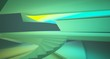 Leinwanddruck Bild - Abstract architectural white interior of a minimalist house with color gradient neon lighting. 3D illustration and rendering.