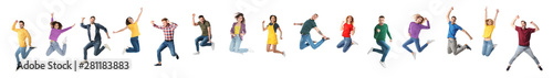 Photo  Collage of emotional people jumping on white background