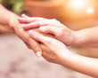 Leinwandbild Motiv Caregiver, carer hand holding elder hand in hospice care. Philanthropy kindness to disabled concept.