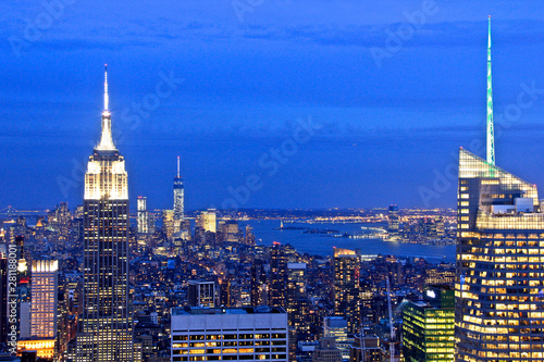 Fototapeten New York View of New York city and Empire State building from Top of The Rock.