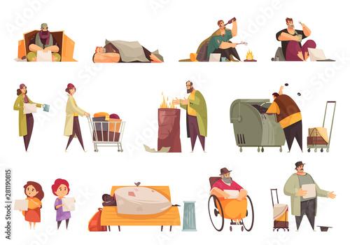 Fototapeta  Poor People Icons Set