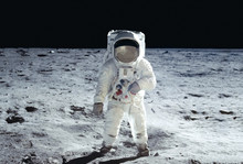 The Astronaut Goes Across The Moon, In A White Space Suit Elements Of This Image Were Furnished By NASA