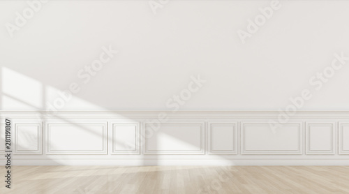 Photo  Perspective of the sun light cast the shadow on white empty room and bright laminate floor,classic interior style