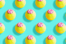 Tennis Ball Pattern With Pink Paint