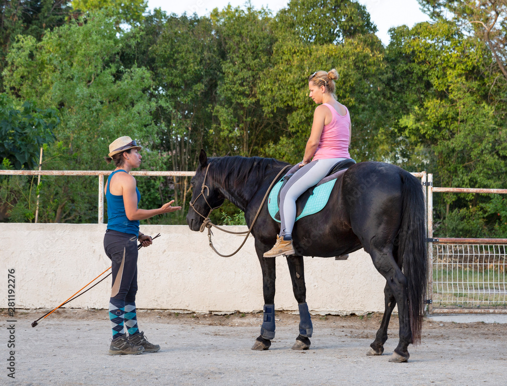 Fototapety, obrazy: riding girl and horse