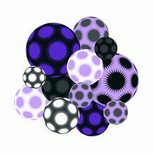 Stars Balls Cluster Silver Mauve