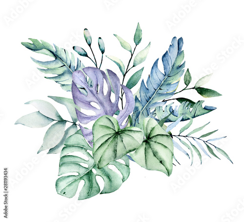 Watercolor Tropical Leaves Arrangement Jungle Plants For Stationary Greetings Etc Aloha Party Floral Decoration Hand Drawing Buy This Stock Illustration And Explore Similar Illustrations At Adobe Stock Adobe Stock Green tropical leaves of monstera, fern, and palm fronds the rainforest foliage plant bush floral arrangement on dark. watercolor tropical leaves arrangement