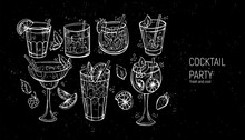 Set Of Classic Alcoholic Cocktails. Hand Drawn Vector Illustration.