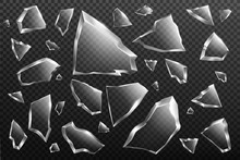 Broken Glass Shards Set Isolated On Transparent Background, Randomly Scattered Shattered Pieces Of Crashed Window, Crystal Fragments With Sharp Edges, Design Elements, Realistic 3d Vector Illustration