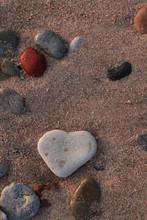 Heart Shape Stone On The Beach