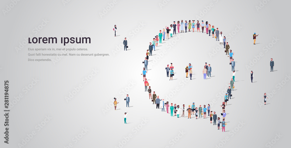 Fototapeta people crowd gathering in chat bubble speech icon shape social media communication concept different occupation employees group standing together full length horizontal copy space