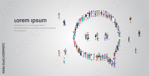 Obraz people crowd gathering in chat bubble speech icon shape social media communication concept different occupation employees group standing together full length horizontal copy space - fototapety do salonu