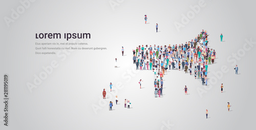 Fotografie, Obraz  people crowd gathering in loudspeaker megaphone shape social media community ann