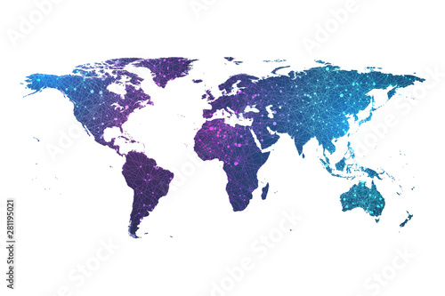 Global network connection plexus particle world map. World map point and line composition concept vector illustration of global business. Worldwide network connection