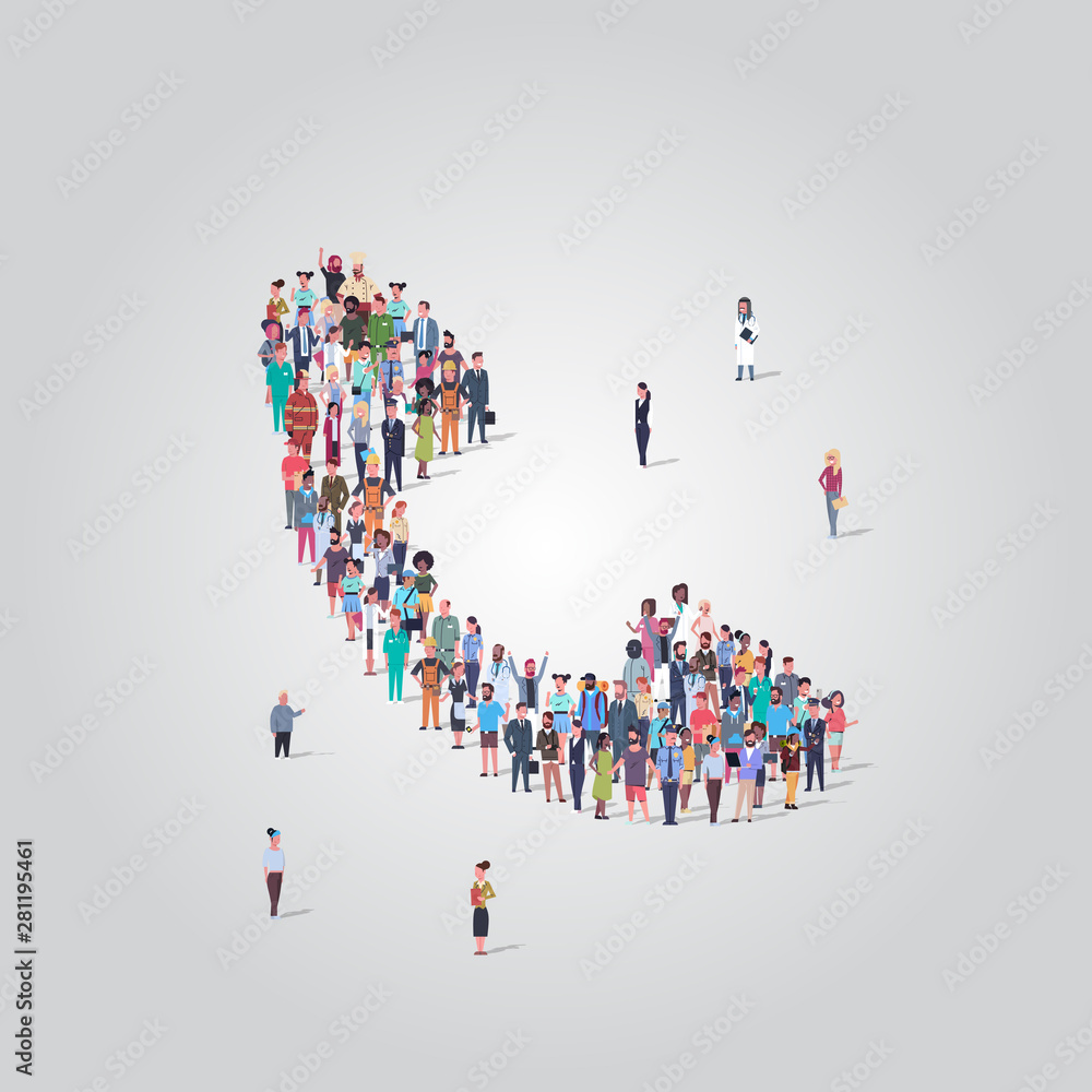 Fototapeta people crowd gathering in phone tube telephone receiver icon shape social media communication concept different occupation employees group standing together full length